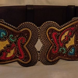 CHICO'S Brown Leather Embroidered Belt Sz M-L